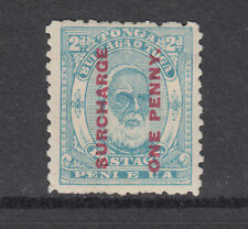 """Tonga SG 25a MLH. 1895 1p on 2p King George I, deformed """"E"""" in """"PENI"""" variety"""