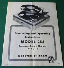 Webster Electric Model 255 Automatic Record Changer Operating Instructions