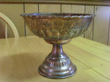 ANTIQUE TURKISH OTTOMAN SOLID COPPER FOOTED TALL SERVER DISH PLATE,ORNATE,ETCHED