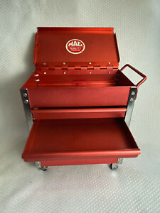 Miniature Mac Quality Tools Chrome Red Rolling Cart Caddy Tool Cart On Wheels