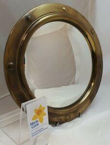 (NUN) Vintage Fish Eye Round Brass Convex Wall Mirror Marine Nautical PORTHOLE