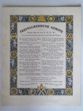 freimaurische gebote - ancienne affiche les commandement de la franc maçonnerie