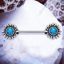 Anillo Pezón Solita   Azul Ópalo Cristal Pezón Barra Pezón Piercings anillos de pezón