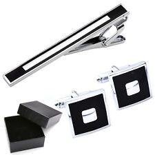 3pcs Mens Stainless Steel Necktie Tie Clip Clasp Bars + Square Cufflink Gift Set