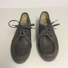 Nurse Mates Women's Leather Shoes Lace Up Gray Size 6.5M