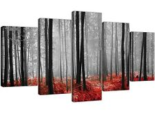 Extra Large Red Forest Woodland Trees Canvas Prints 5 Piece in Black and White