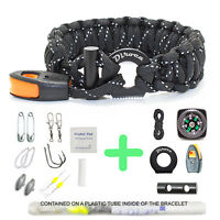 Paracord Bracelet Survival Gear | Reflective Black 550 Parachute Cord | 19 in 1