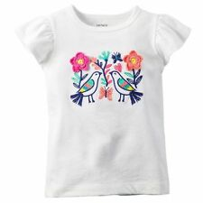 New Carter's Summer Cap Sleeve Embroidered Birds & Flowers Top Size 18m NWT