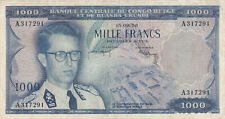 1000 FRANCS VF-FINE BANKNOTE FROM BELGIAN CONGO 1958 PICK-35 VERY RARE