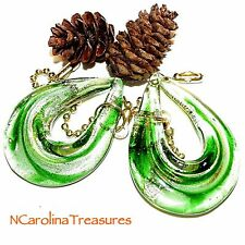 GREEN GOLD HANDCRAFTED GLASS CEILING FAN PULL TEARDROP DROP LOOP SET LARGE PAIR