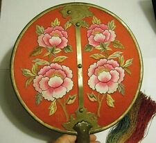 "10.5"" Large Round Hand Held Chinese Fan Embroidered Red Silk Flowers and Bronze"