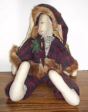 """Country Primitive Cloth Holiday Rabbit Doll 16"""" Plaid Overalls & Santa Hat"""