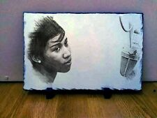 "Aretha Franklin Sketch Art Portrait on Slate 12x8"" Rare Collectables memorabilia"