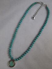 Ralph Lauren Signed Turquoise Beaded Necklace Silver Toned Adjustable
