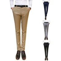 Men's Formal Business Slim Fit Suit Dress Pants Stretch Solid Trousers Pants h8