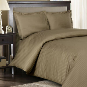 300 TC Taupe Sateen Striped 8 PC Beds In A Bag