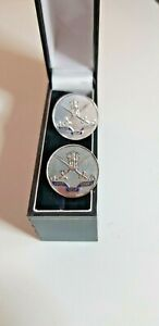 VINTAGE ARMY GOLF COURSE ROUND CUFFLINKS PLATED INDIAN ARMY LOGO
