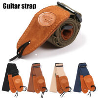 Adjustable Soft Leather Guitar Strap Electric Acoustic Guitars Bass Webbing Belt