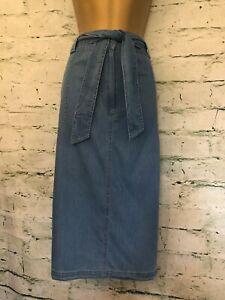 Pomodoro Ladies Light Blue Denim Straight Belted Skirt UK 16 US 12 EU 44 RRP £55