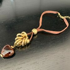 Heart Necklace Jewellery Pendant in Brown & Gold Colour
