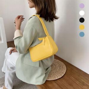 Women's  Mini Shoulder Bag Vintage Baguette Handbag Soft Leather Messenger
