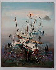 Tableau signé  - Bateaux de pêche au mouillage - Huile sur toile