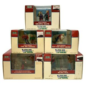 Lot of 5 Vtg 90s Lemax Vail Village Figurines w/ Box Christmas Holiday Decor