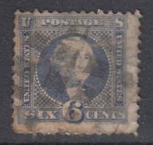 "USA Scott #115  6 cent Washingtoon ultramarine  ""G""  Grill    **"