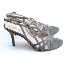 BN VINCE CAMUTO 5/38 SILVER GOLD GLIMMER GLITTER EVENING SANDALS HIGH HEELS