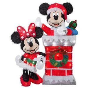 "30"" Christmas Mickey on chimney & Minnie Lighted Tinsel 2 piece Yard Decor 3-D"
