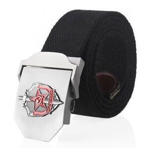 Man Belts Canvas Soviet Metal Buckle Geometric Casual Pattern Tactical Strap