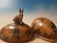 Victorian Paper Mache Easter Egg Candy Container 4 inch & Viennese Bronze Bunny