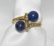 TIFFANY Lapis Lazuli and Diamond Crossover Ring, 18K Gold~Vintage~Classic Design
