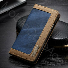 Luxury CaseMe Denim Canvas Wallet Case Stand Flip Cover for iPhone X 6 7 8 + SE