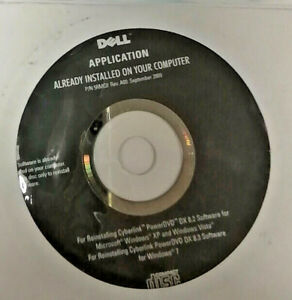 N.I.B. Dell Reinstalling Disc CyberLink PowerDVD DX 8.2 DX8.3 0P34RV 5RMC0