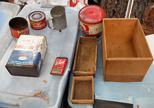 Vintage advertising 5  Cans and 3 Wooden Boxes for Flea Mkt & Antique Store