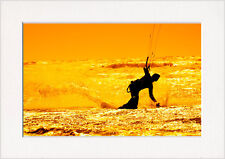 Surf Board Kitesurf Sunset Art Print in Card Picture Mount for your own A4 frame