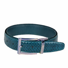 Men's Teal Green Snake Skin Leather Belt With Stylish Silver Buckle