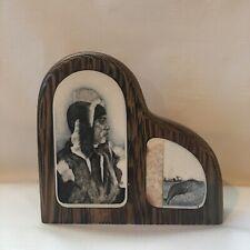 Inuit Eskimo & Whale Artist Signed Scrimshaw Carving Vintage