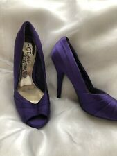 Hot Off The Catwalk - Sz 3  Purple Satin Heels - Worn Only Couple Times GO