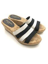 ERIC JAVITS Black White Natural Woven Cork Platform Wedge Sandals Sz 7.5 Narrow