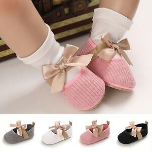 Newborn Baby Toddler Kids Girls Bowknot Shoe Soft First Walking Princess Shoes