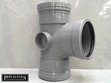 """uPVC 4"""" Soil Pipe 110mm Tee Branch - Grey Triple Female Socket"""