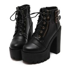 Women Platform Shoes Black Zipper Spring High Heels Lace Up Ankle Leather Boots