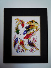 4x5 Nine Koi Fish 3 good luck Feng shui Art Asian - Chinese Brush Painting