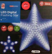 50CM WHITE Digital FLASHING COLOR STAR WITH 45LED LIGHTS INDOOR OUT DOOR XMAS