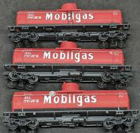 Mantua: MOBILGAS Mobil W.E.O.X #831 TANK CARS. HO Scale LOT OF 3, red, VINTAGE