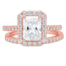 Ring Band set 14k Rose Gold 2.20ct Emerald Round Halo Moissanite Promise Bridal