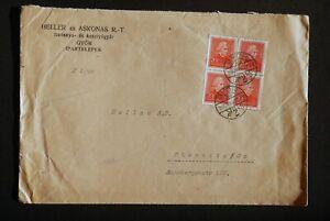* Hungary 80f block Mi495 SG547 Yv455 cover Gyor F2F 27/5/1936 - Chemnitz
