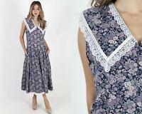Vintage 80s Gunne Sax Dress Navy Calico Floral Lace Collar Boho Wedding Maxi